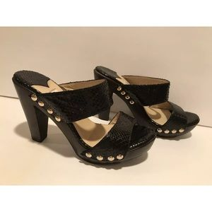 Jimmy Choo Sandals heels snake print black 38/7.5